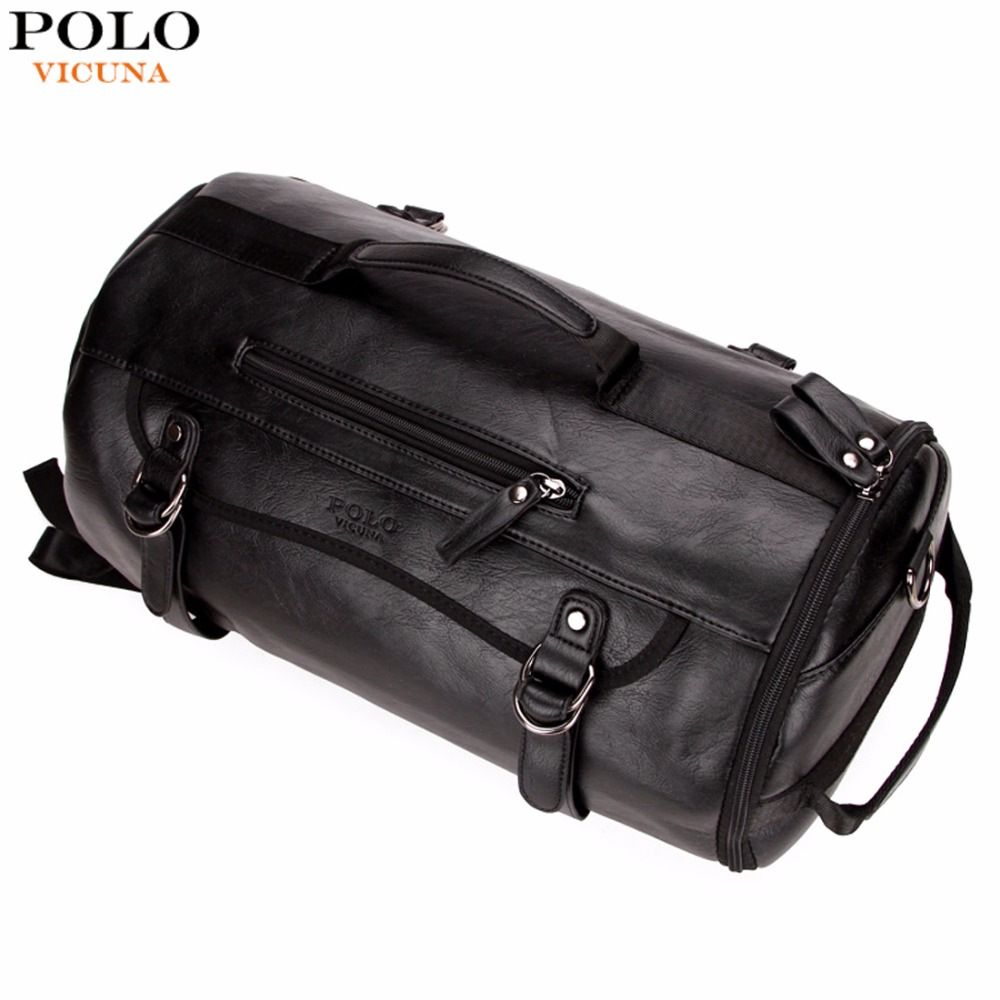 VICUNA POLO Personality Large Size Round <font><b>Leather</b></font> Mens Travel Bag Fashion Rolling Travel <font><b>Backpack</b></font> For Man Famous Brand Duffel Bag