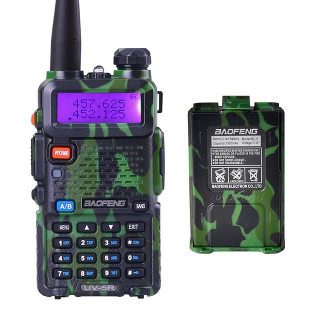 Camuflaje BAOFENG UV-5R de Banda Dual CB radio Walkie Talkie Radio Portátil Con Batería Adicional Profesional