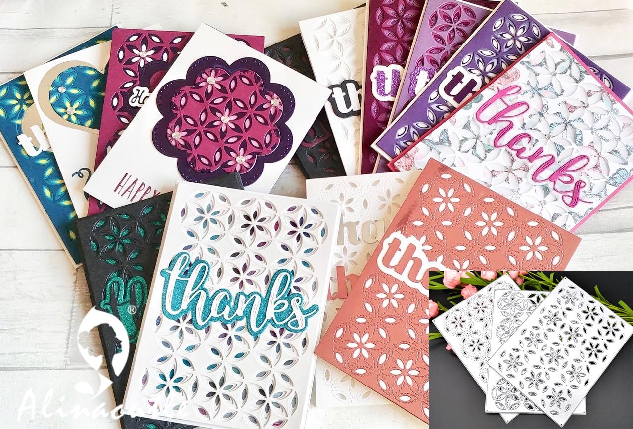 Die Cut Metal Cutting Dies 3pc Layered Background Flower Rectangle Scrapbook Paper Craft Handmade Card Punch Art Cutter Die Cut