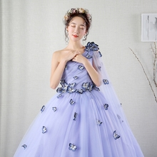 100%real light lavender butterfly trailing queen gown vintage ball gown royal Medieval Renaissance Victorian dress Belle ball