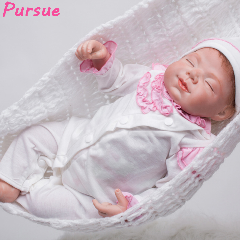 Pursue 22'' 55cm New Silicone Vinyl Reborn Dolls Lifelike Newborn Babies Toys Soft Touch bebe toys bonecas reborn de silicona 2017 twins lifelike newborn babies reborn 42cm doll reborn toys bebe reborn baby bonecas reborn de silicona brinquedos juguetes