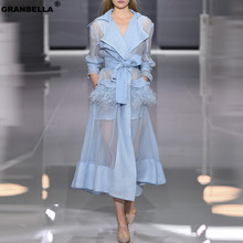 Summer European Runway Women Sexy Organza Trench Coat Feathers Tassel Belt Dress