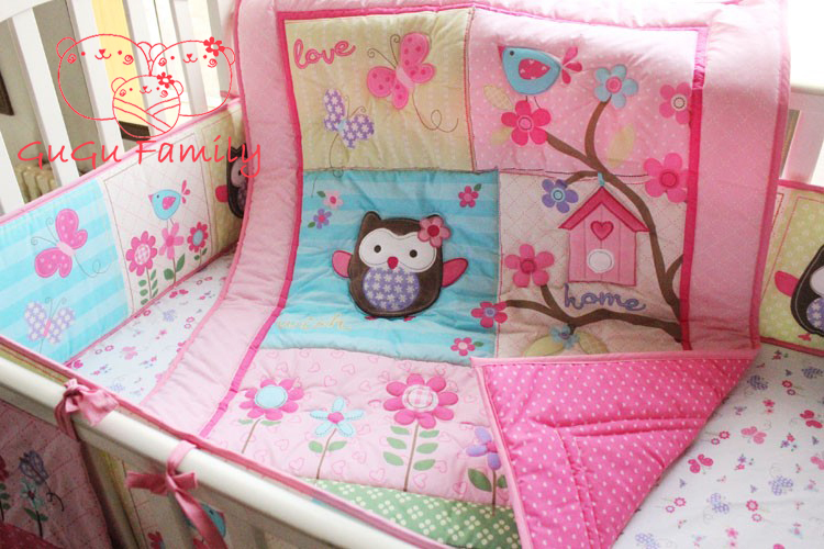 hot sell New 8pcs Baby Crib Cot Bedding Set Quilt Bumper Sheet Dust Ruffle Nappy bag 5 items Birdie Owlet for Girl GuGu Family original projector lamp with housing bl fp190e sp 8vh01gc01 sp 73701gc01 for dh1009 x316 s316 w316 dx346 hd26 hd141x gt1080