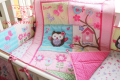 hot sell New 8pcs Baby Crib Cot Bedding Set Quilt Bumper Sheet Dust Ruffle Nappy bag 5 items Birdie Owlet for Girl GuGu Family