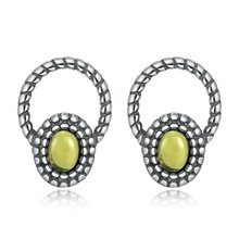 100% 925 Sterling Silver Clearly Oval Yellow Stones Stud Earring For Women Wedding Jewelry Valentine's Day Gifts
