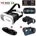 Оригинал Расширенная Версия Google Картон VR BOX II 2.0 VR виртуальная Реальность 3D Очки + Черный Bluetooth Gamepad + Синий стекла