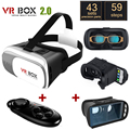 Original Enhanced Version Google Cardboard VR BOX II 2.0 VR Virtual Reality 3D Glasses + Black Bluetooth Gamepad + Blue Glass