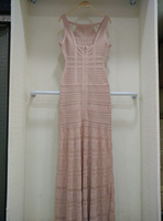 Высокое качество пикантные открытые длинное Бандажное платье 2018 элегантные трикотажные дизайнер длинное платье L 47