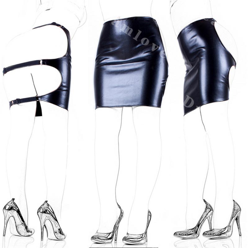 Female Open Hip Buttock Exposing Wetlook Faux Leather Spanking Skirt Tight Fit Erotic Lingerie Mini Dress Catsuit