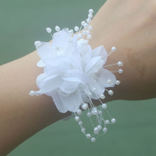 Bridal Wristband Hand Wrist Flower White Pearls Flowers Bracelet For Bridesmaids Prom Bracelets Girls Corsage Mariage Hold