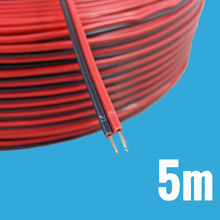 5M Electronic Electrical Copper Rubber LED Wire Cable Red Black 2Pin I