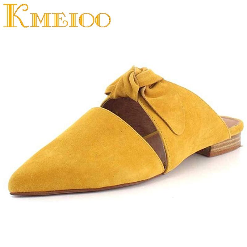 Sur Yellow Talons Chaude Mode Slip Robe nude Plat De Dames Bowtie Chaussures Bout Diapositives Mules black Femme Suede 2018 Kmeioo Mule Pointu wCqH66