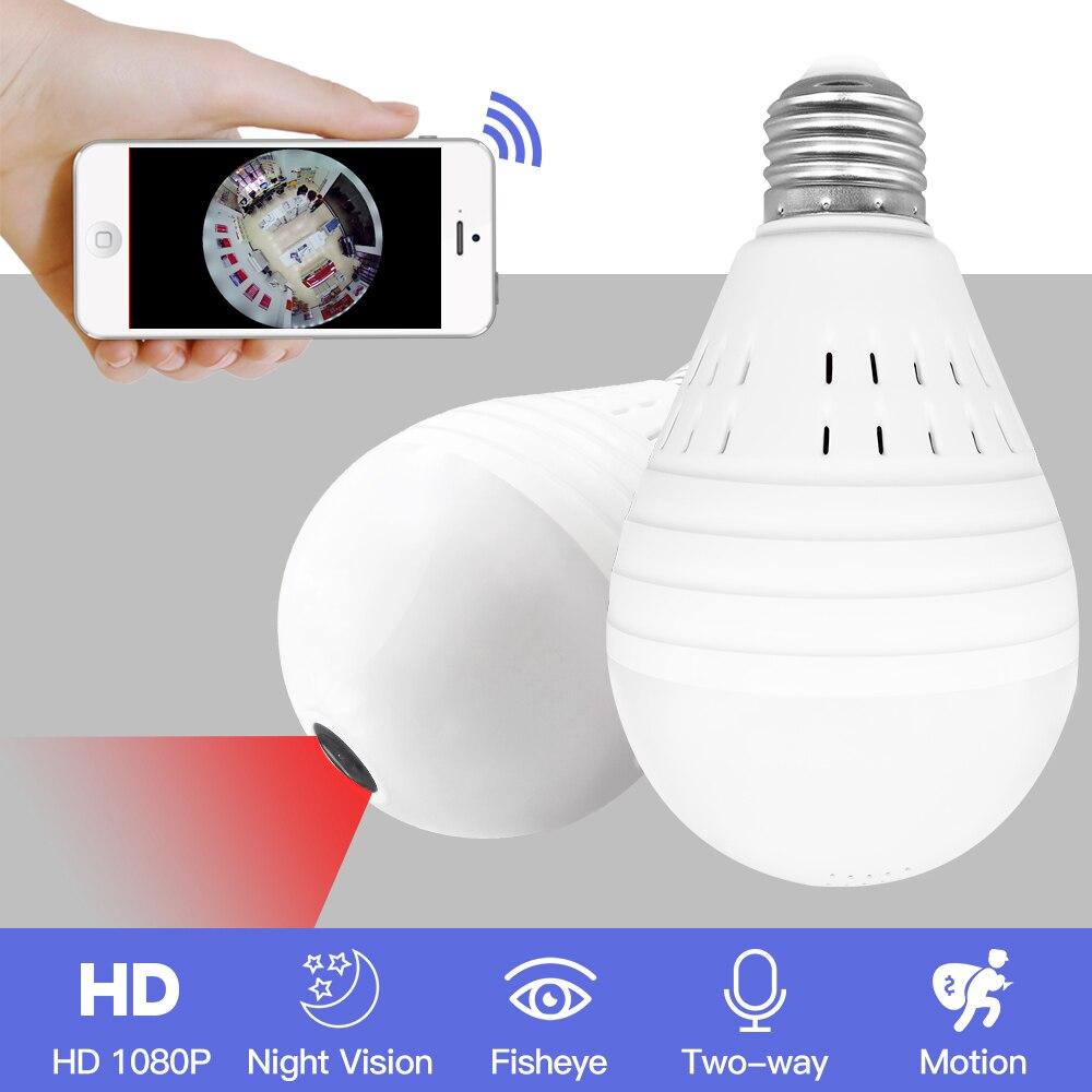 SDETER Ampoule Lumière Sans Fil 1080 P IP Caméra-Wifi 360 Degrés de Sécurité CCTV Caméra Panoramique FishEye Nuit Vision Lampe Mini Caméra
