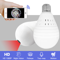SDETER Bulb Light Wireless 1080P IP Camera Wifi 360 Degree Security CCTV Camera Panoramic FishEye Night