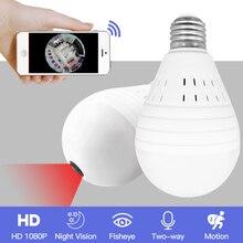 SDETER Bulb Light Wireless 1080P IP Camera-Wifi 360 Degree Security CCTV Camera Panoramic FishEye Night Vision Lamp Mini Camera