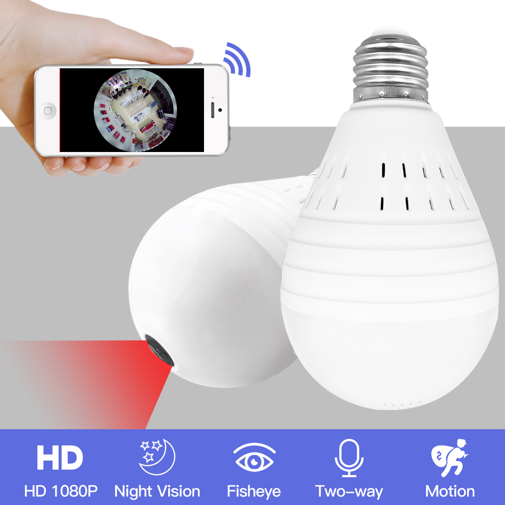 SDETER Bulb Light Wireless 960P IP Camera-Wifi 360 Degree Security CCTV Camera Panoramic FishEye Night Vision Lamp Mini Camera wifi ip bulb camera 360 fisheye panoramic bulb camera 1 3mp 960p cctv video surveillance wifi security camera