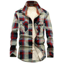 Neue Winter Plaid Fleece-Shirt Männer 100% Baumwolle Liner Casual Langarm Shirts Oberbekleidung Dicke Warme Herbst Hemd Chemise Homme(China)