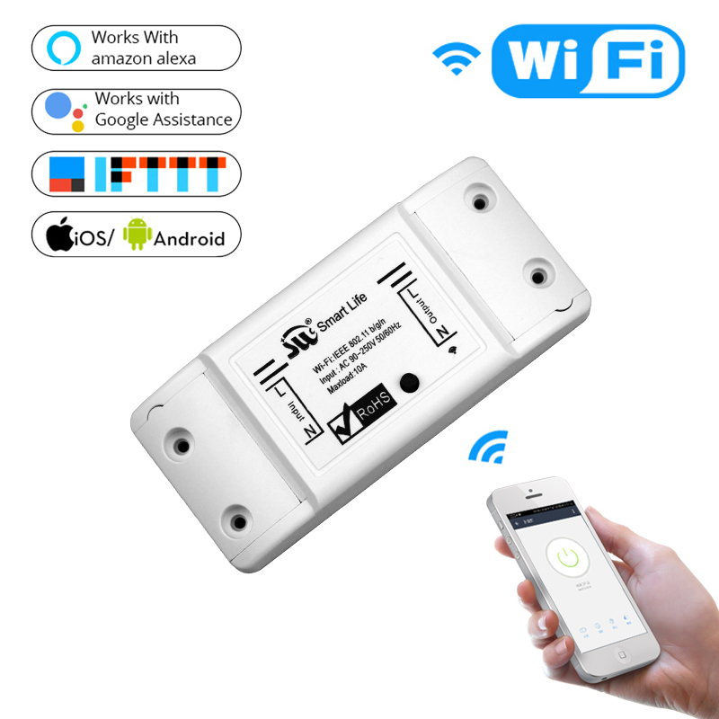 DIY WiFi Smart Light Switch Universal Breaker Timer Wireless Remote Control Works with Alexa Google Home Smart Home 1 Piece 5ps lot sonoff smart wifi switch diy remote control wireless smart switch module 2200v for light smart home works with alexa