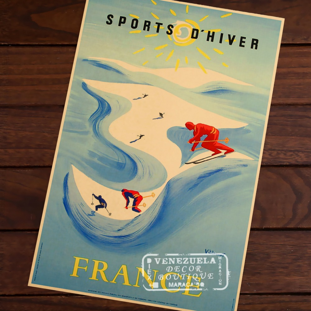 Skiing Sports in France Travel Vintage Retro Decorative Poster DIY ...