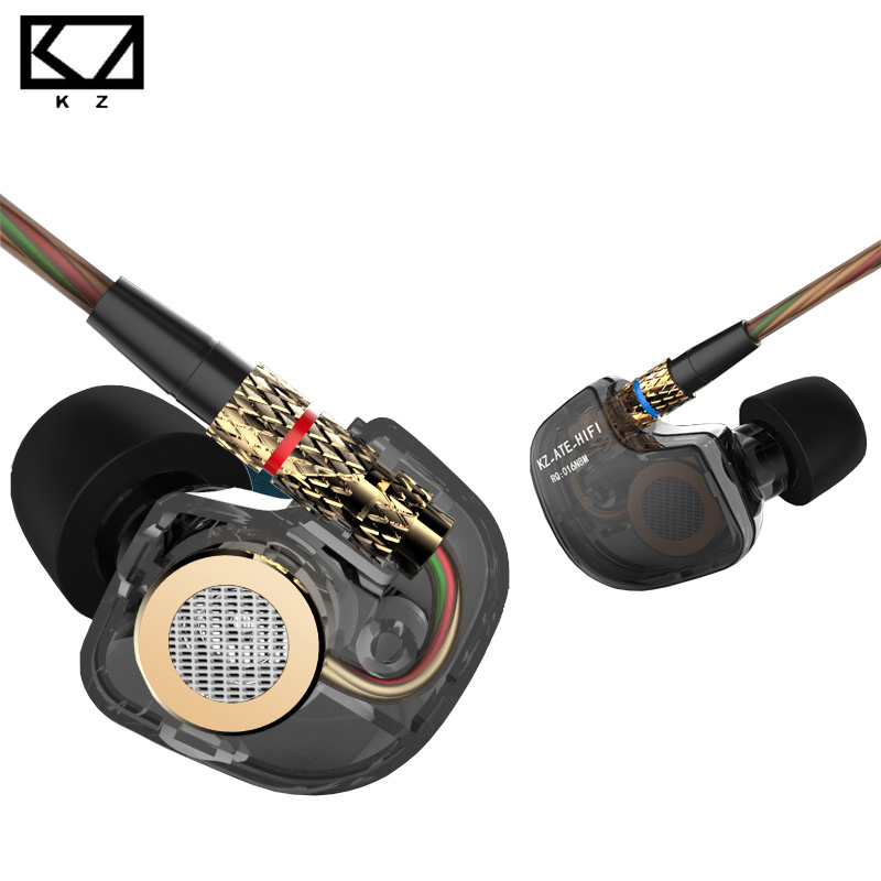 100% Original KZ ATE ATR 3.5mm In Ear Earphone Super Bass Stereo HiFi Sport Metal Earphones with Microphone for iPhone xiaomi kz ates ate atr hd9 copper driver hifi sport headphones in ear earphone for running with microphone game headset