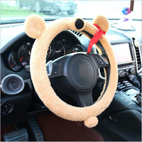 1 PC Cute Plush Student Bear Car Steering Covers Autumn Winter Plush 38cm Cute Animal Warm Steering Covers Case Car Accessories