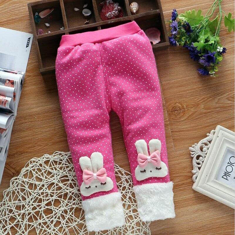 Baby Hosen Kaninchen Ohr Haar Ball Baumwolle Plus Samt Winter Legging Hosen Bibicola Baby Mädchen Leggings Hosen