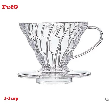 FeiC 1pc 4 Colors Hario  Coffee Dripper V60 Heat-resistant Resin VD-01 2cups For Barista