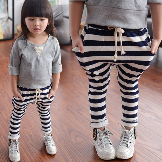 1b9179fe0af placeholder 2017 primavera y otoño nueva moda 100% algodón Stripe niños  pantalones niñas harem pantalones niños