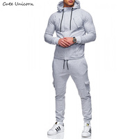 Autumn Winter Sportwear fitness Tracksuit zipper Hoodies Pants fleece Jacket sweat Pants slim fit Mens Set 2pcs Hoody Sweatshirt