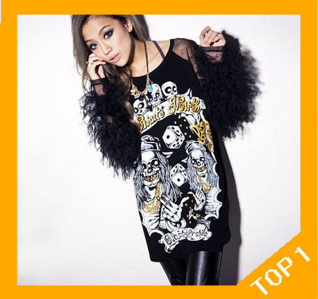 Free shipping 2013 wholesale promotion sexy Lace O-neck Full Iantern Sleeve Fashion Long Summer Autumn T-shirt for women
