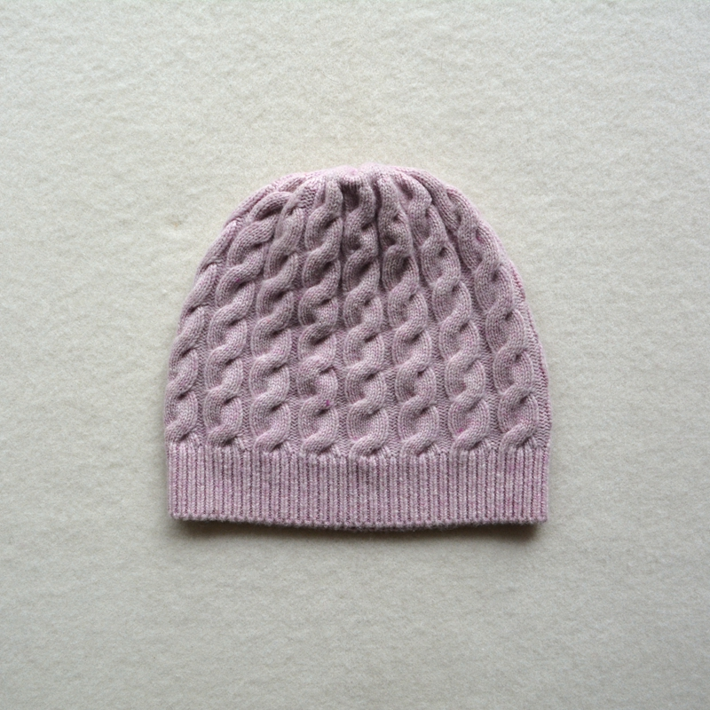 free shipping winter thick pure cashmere cable knit beanie hat for women - PM004