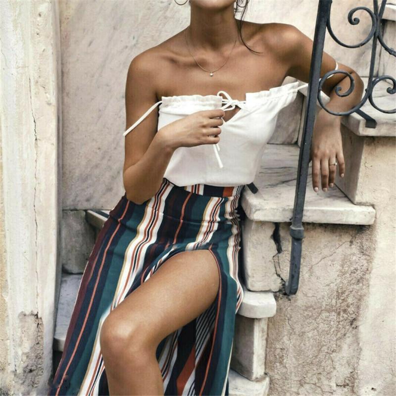 Color Stripe Boho Skirts 2019 Fashion High Waisted Long Skirts Womens Maxi Skirt Women Vintage Skirt Beach Female Skirts 2019