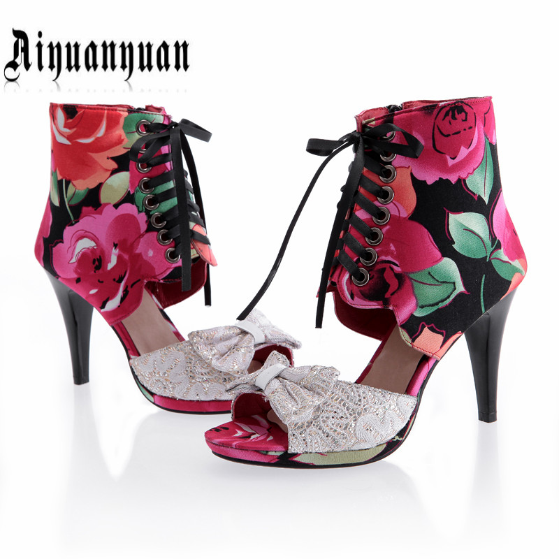 2016 women sandals printing flower design plus size 40 41 42 43 44 45 SWEET style pep-toe women summer shoes Free Shipping  2016 retro cut outs design women summer boots open toe sandals plus size 41 42 43 44 45 thin heels summer shoes free shipping