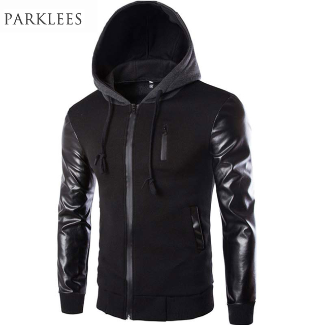 Cool Hooded Jacket Men 2017 Spring Fashion Pu Leather Sleeve ...