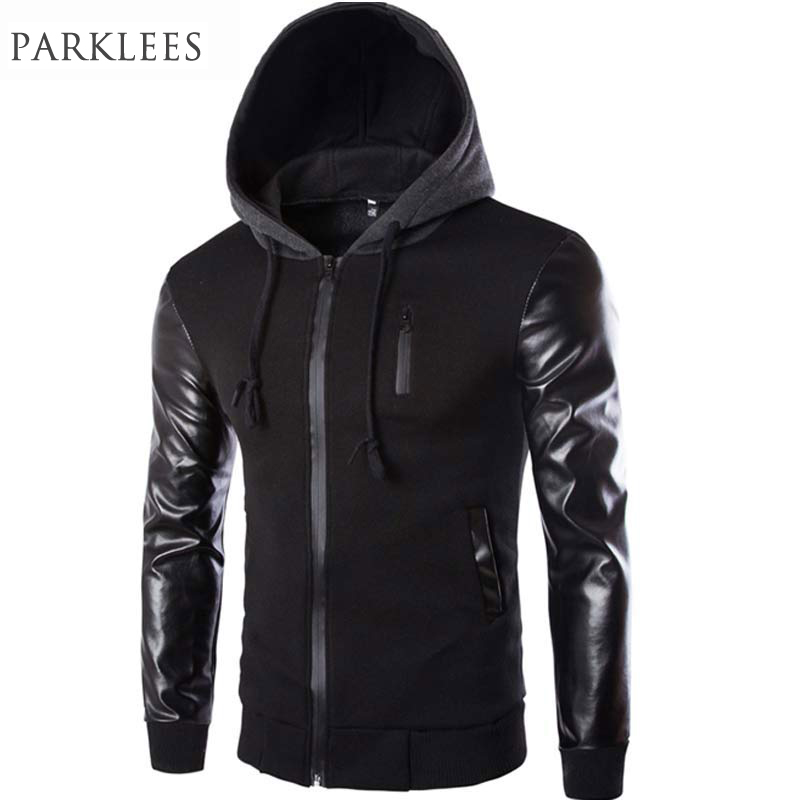 52255bdd6 US $18.99 50% OFF|Cool Hooded Jacket Men 2017 Spring Fashion Pu Leather  Sleeve Splice Bomber Jacket Casual Windbreaker Blouson Veste Sweat Homme-in  ...