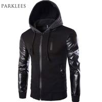 Cool Hooded Jacket Men 2016 Spring Fashion Pu Leather Sleeve Splice Bomber Jacket Casual Windbreaker Blouson