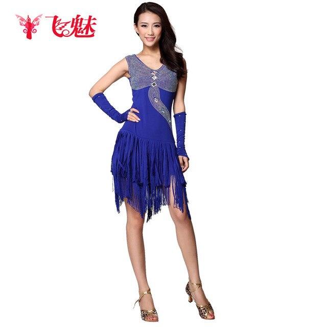 d057420fb47 Adultos Latino concurso de baile vestuario (vestido con flecos + 2 *  Guantes) 3