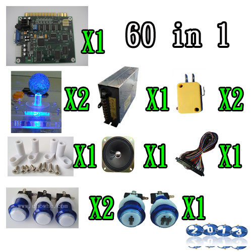 1 kit classical arcade game 60 in 1, power supply, speaker, lighted joystick, lighted 1P2P button 1 set of part for game machine sanwa button and joystick use in video game console with multi games 520 in 1