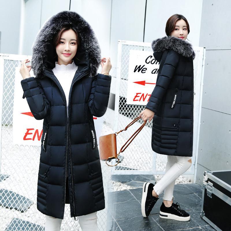 Women 2017 Winter Down Jackets Big Fur Collar Warm Hooded Coats Ladies Thicken Cotton Padded Parka Casual Slim Long Outerwear цены онлайн