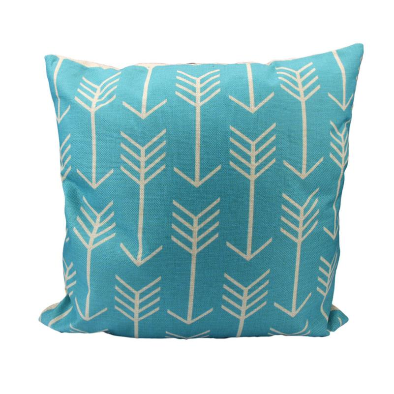 Ouneed Home Office/Hotel/Car Use Blue Pattern 2017 New Arrival Excellent Quality Square Soft Pillow Linen Cotton Pillow