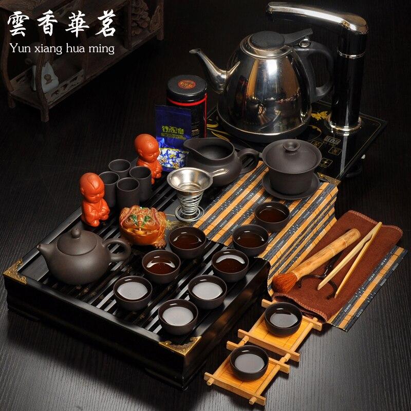 Чай указан специальный набор электромагнитных печь поднос деревянный Керамика Чай горшок Чай кунг фу фиолетовый чашки