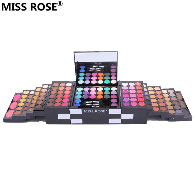 free shipping MISS ROSE make up box makeup set of 144 colors matte shimmer eye shadow 3 colors eyebrow pressed Blush powder miss rose plate of the piano box eye shadow makeup of dumb light of pearl tray blush powdery cake grooming powder cosmetics box