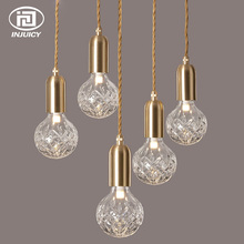 Luxury Crystal Glass Ball LED Pendant Light Loft Diamond Bubble Glass Foam Ceiling Lamp Restaurant B