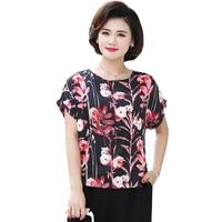 Fashion Women Summer Silk Blouses Short Drop Shoulder Tunic Shirts Woman Casual Round Collar Flower Print Satin Blouse Female XL
