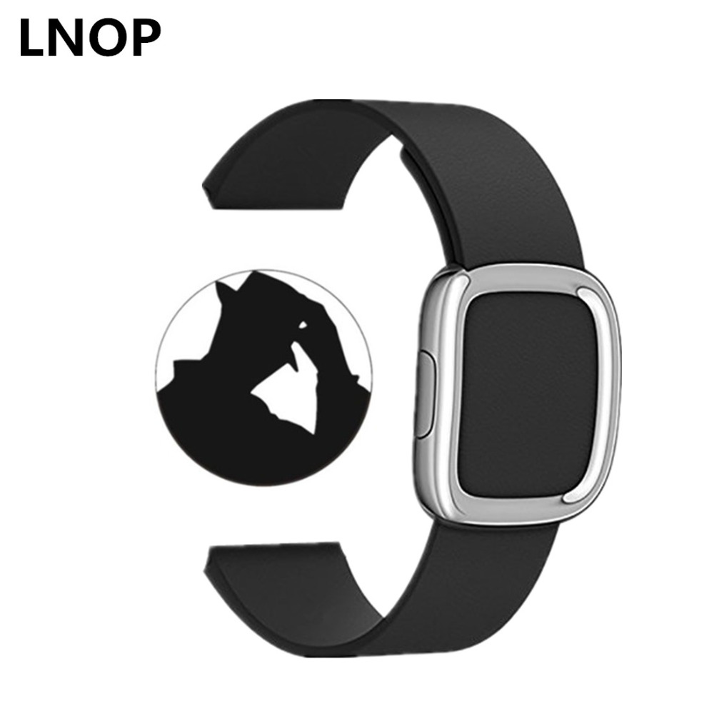 LNOP leather modern buckle strap for apple watch band 42 mm/38 watch bracelet Genuine Leather watch band for iwatch 1 2 3 цена