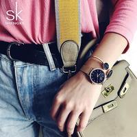 Shengke SK Brand Luxury Women Watches High Quality Gold Mesh Belt Dress Women Watch Wristwatch Female