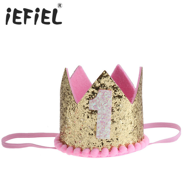 iEFiEL Infant Baby Toddler First Birthday Hat Princess Crown Number One 1st  Year Old Party Headwear Newborn Crown Boy Prince Hat d56a513ad0e