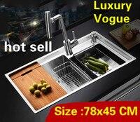 Kostenloser versand Wohnung multifunktions küche manuelle waschbecken doppel nut hohe qualität 304 edelstahl heißer verkauf 780x450 MM