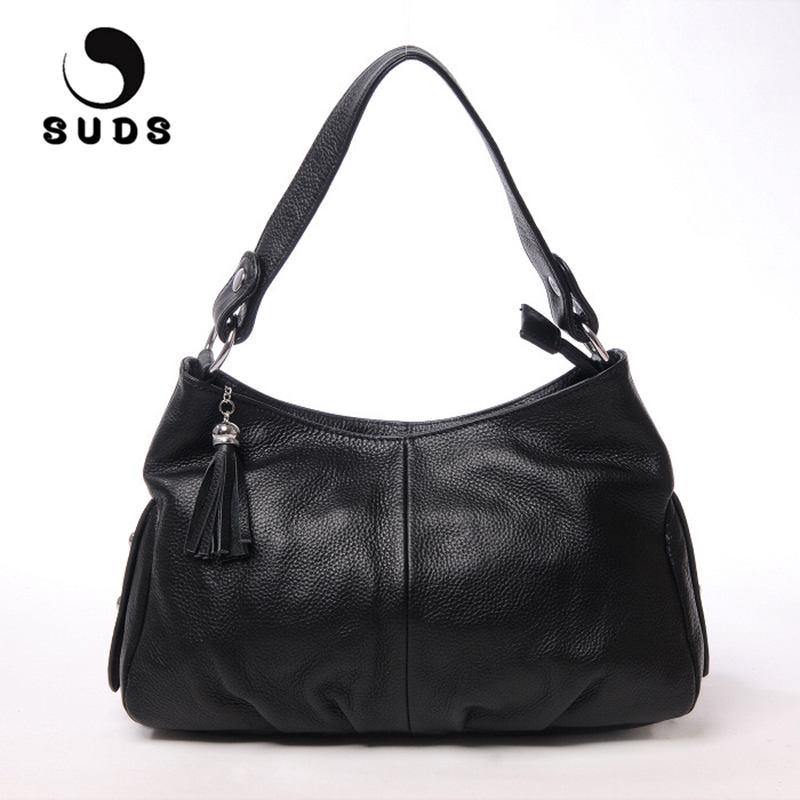 SUDS Brand Women Fashion Genuine Leather Tassel Shoulder Bag Female Luxury Designer High Quality Cow Leather Shopping Tote Bags luxury handbags genuine leather women bags designer tote bag fashion high quality female shoulder messenger bag gifts for mother