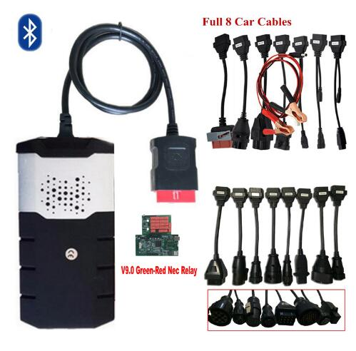New V9.0 Board Vd Ds150e Cdp With Bluetooth 2016.R0/2015.R3 OBD2 Scanner Tool For Delphis +full 8 Car/truck Cables For Autocome